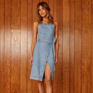 Aritzia denim forum blue Jean backless wrap dress